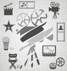 Old colorful movie camera vector image vector image