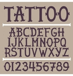 Old school hand drawn tattoo font vector image vector image
