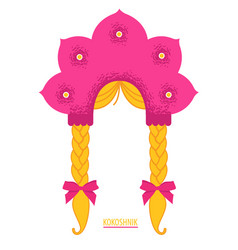Pink kokoshnik with blonde braids russian dress vector