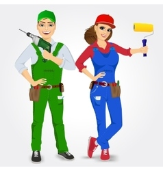 Portrait of handyman and handywoman vector