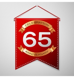 Red pennant with inscription sixty five years vector
