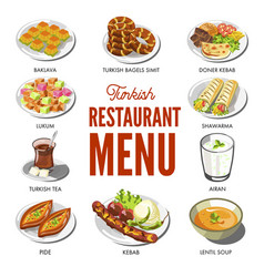 Turkish cuisine food and traditional dishes vector