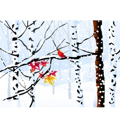 Winter forest and winter landscape vector
