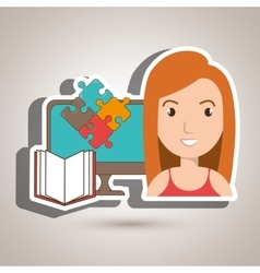 Woman pc book puzzle vector