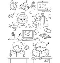 Coloring school elements for little kids vector image