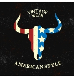 Vintage label with silhouette of bull head vector