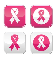 Ribbon symbols for breast cancer awareness buttons vector image