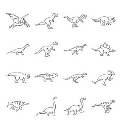 Dinosaur icons set outline style vector