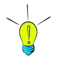 Exclamation in a lightbulb icon icon cartoon vector