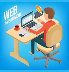 Isometric image wed development man sitting at vector