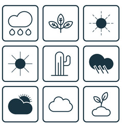 Set of 9 world icons includes sun sunshine vector