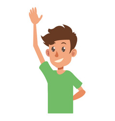 young boy teen hand up smile vector image
