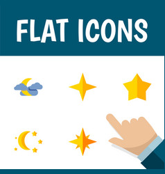 Flat icon bedtime set of starlet asterisk vector