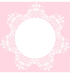 lace round frame on pink background vector image