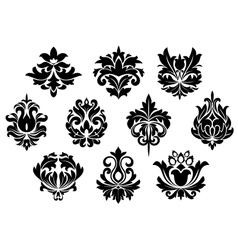 Black floral and arabesque elements vector