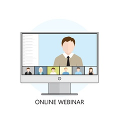 Flat design concept for webinar online learning vector