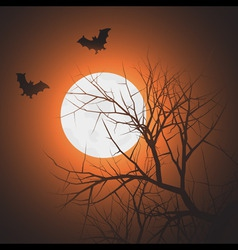 silhouette of tree and bats in the sky at night ti vector image