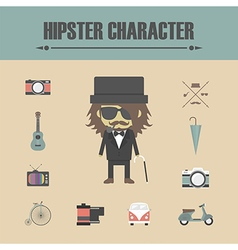 153old man hipster vector