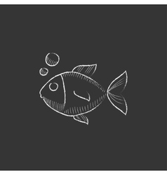 Little fish under water Drawn in chalk icon vector image