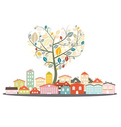 Abstract Buildings - City or Town with Heart vector image