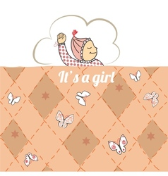 Baby shower card with little girl sleep vector