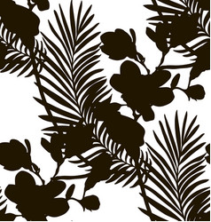 Black shape seamless pattern with drawn flowers vector