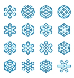 Blue snowflake icons vector