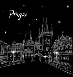 Charles bridge in prague czech republic at night vector
