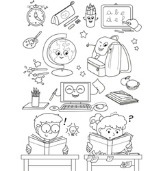 Coloring school elements for little kids vector image vector image