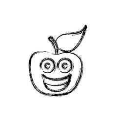 Contour kawaii fruit apple happy icon vector