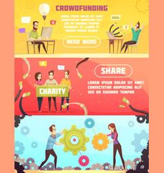Crowdfunding horizontal banners vector