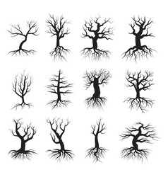 dead tree flat style set vector image vector image