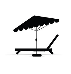 Deckchair with umbrella in black vector