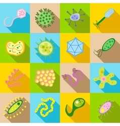 Germ and pathogen icons set flat style vector