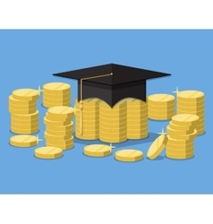 Graduation hat on stack of golden coins vector