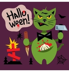 Halloween cat in the cemetery cartoon vector