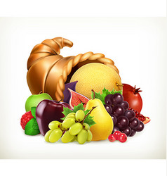 Horn of plenty Harvest fruitsCornucopia 3d icon vector image vector image