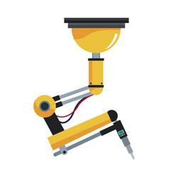 Industrial robotic arm technology futuristic vector