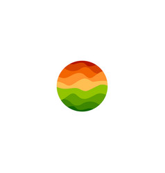 Isolated abstract orange and green color round vector