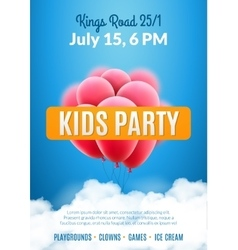 Kids party invitation design poster template kids vector