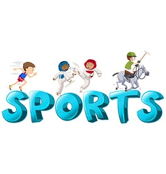 Label design with people doing sports vector