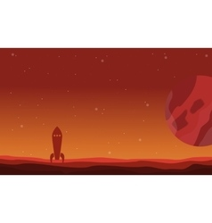 Landscape of desert planet and rocket on space vector