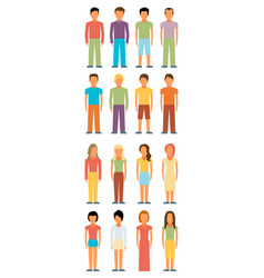 Man and woman flat style people figures icons vector
