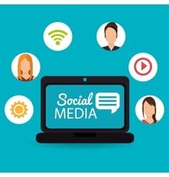 Notebook computer social media virtual dialogue vector