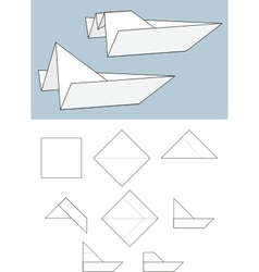 paper boat origami vector image vector image
