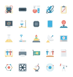 Science and technology colored icons 1 vector