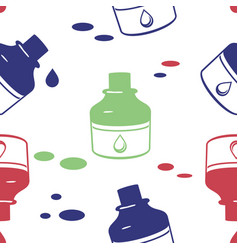 seamless pattern with ink bottle vector image