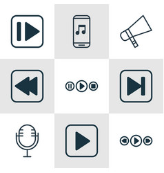 Set of 9 music icons includes start song vector