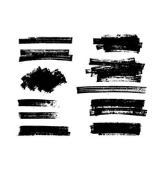 set of black paint ink brush strokes lines vector image vector image
