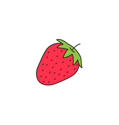 strawberry solid line icon healthy fruit vector image vector image